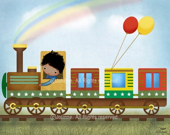 African american Boy Wall Art Room Decor Boy in Train Illustration Picture For Boys Room Boy Nursery Decor Poster Art Print Baby Boy Room
