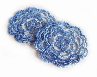 Blue Rose Coasters , Set Of Two - One Of A Kind - Rosa