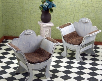 Doll House Furniture - Two Shabby Chic White chairs with Leather Seats