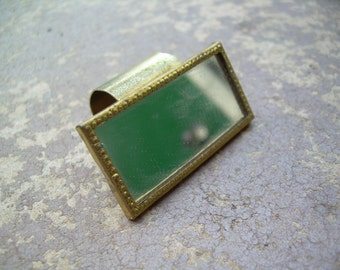 Vintage Gold tone Mirrored Lip stick holder Made in Hong Kong