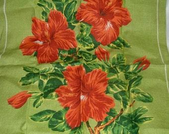 Linen Hibiscus Irish Linen Tea Towel by Ulster, Made in Ireland