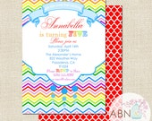 Rainbow Party Invitation - PRINTABLE - Modern Chevron Collection - By A Blissful Nest