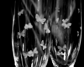 Pair of Hand Engraved Butterfly Champagne Flutes, Illustrated Stemware, Bohemia Crystal, Butterflies, Nature, Hand Engraved, Glass Engraved