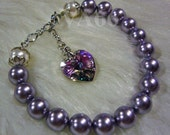 Swarovski Pearl n Heart Love Vintage Classic Bracelet 27 Colors Gift, Bridesmaids, Bride, Birthdays, Bridal Party, Custom Made Sizes Colors