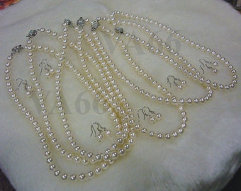 """Bridesmaid set Classic White Cream Ivory 18KGP 8mm Swarovski Pearl Necklace 1 strand 18"""" 27 Colour Choices with Free Earrings"""