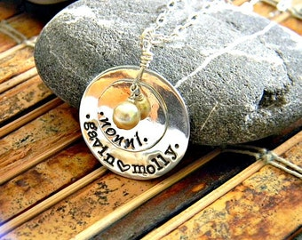 personalized,grandmother  necklace, hand stamped with grandmothers special name