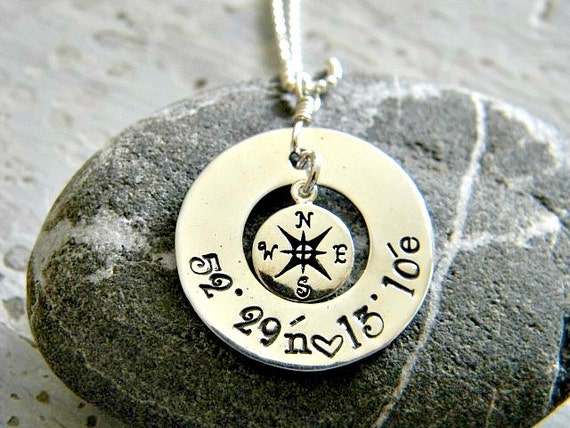 latitude and longitude necklace, hand stamped, personalized location jewelry