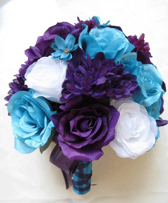 Wedding Bouquet Bridal Silk Flowers PURPLE Plum TURQUOISE