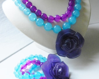 1980 Vibrant Color Sets  - Large Beads and large rose  for a style full of glamor - Necklaces and bracelet signed--Art.388/2--