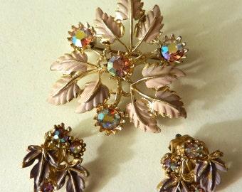 1950 Stunning  Sparkling Rainbow Crystals set -Demi Parure 1950 - AB & enamels -EXQUISITE signed-Art.469/2 -