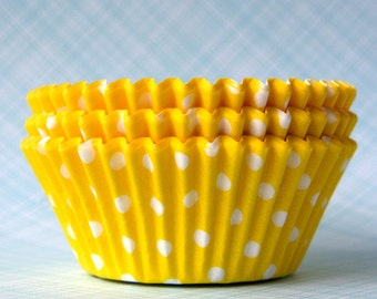 Yellow Polka Dot Cupcake Liners (50) Yellow Dot Baking Cups, Easter Cupcake Liners, Yellow Birthday Party
