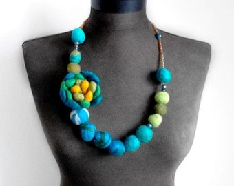 statement necklace felt flower and balls eco friendly necklace, strand necklace, spring necklace