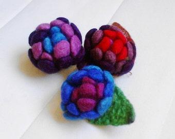 SALE set of 3 flower brooch, eco friendly, statement brooch, summer brooch