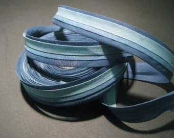 Vintage striped ribbon cotton  trim blue multi striped 5/8 inch J109