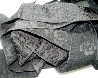 "Vintage Jacquard Trim, Black, 2.5"" Wide. Woven Textured Rose Pattern in. 3 Yd Increments. Heirloom Sewing Satin Acetate"
