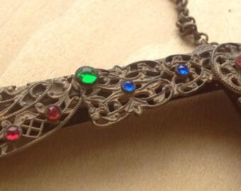 Jewel encrusted  purse frame Antique Ornate Filigree  design Purse handle 6 inch