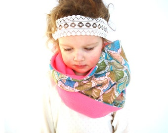 Girl scarf, pink cowl, neon circular scarf, spring accessory