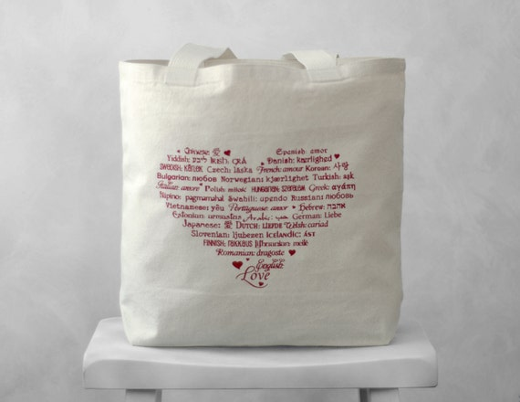 CLEARANCE ~ LOVE Languages Tote Bag - Red on Natural - Canvas Bag - Carryall Tote - Valentines Day