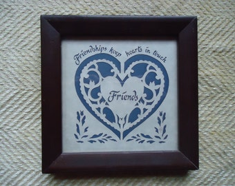 Scherenschnitte Papercut Vintage Friends Heart Framed 6 x 6 made in USA