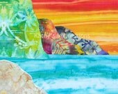 "Sunset Glow NA PALI COAST - 10"" Organic Cotton Sateen Layer Cake Fabric Quilt Square- Tropical Kauai Hawaii"