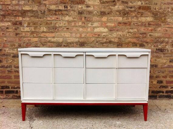 Vintage Modern Dresser In White and Radiant Red