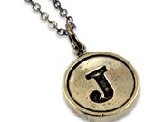 Letter J  Typewriter Key Pendant Necklace - Silver White Bronze  - Other Letters Available