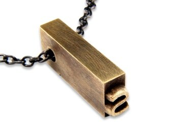 Letter S  Letterpress Necklace - Brass Initial Personalized - Other Letters Available