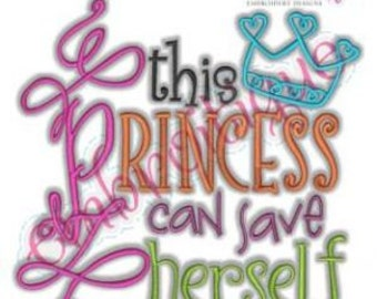 Girly Girl Gamer - This Princess Can Save Herself- Instant Email Delivery Download Machine embroidery design