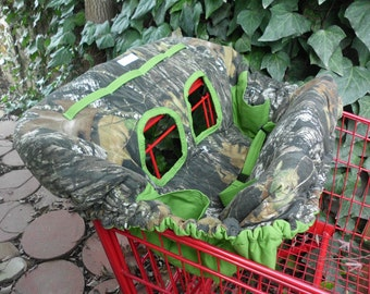 MOSSY OAK CAMO and Grass Green Fully Padded Reversible Boutique Shopping Cart Cover - More Colors Available