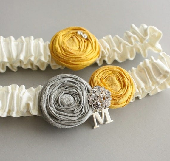 Personalized Wedding Garter SET - the Lucia Garter - Ivory Silk with Yellow & Gray Roses (Or Pick your Colors), includes toss garter