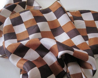 Checkerboard Scarf in Brown, Ochre Brown, and White Vintage Extra Long