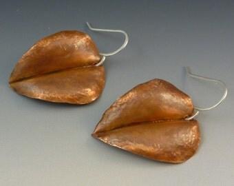 Copper Leaf Earrings - foldformed recycled copper