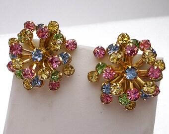 Large Multi Color Star Burst Clip On Earrings 1960s