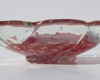 Vintage Mid Century Modern Italian Art Glass Murano Pink Case Glass Bowl with Gold Fleck