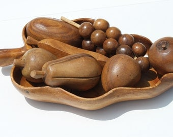 Vintage Mid Century Monkey Pod Wooden Bowl with Assorted Fruit Centerpiece