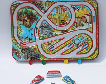 3 Vintage Tin Litho Wind Up Cars with City Track Game Board by Holdauto
