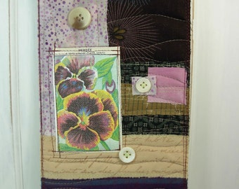 Subtle Plums - mini art quilt
