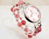 Watch, Stretch Bracelet with Natural Pink Stones, Large Face