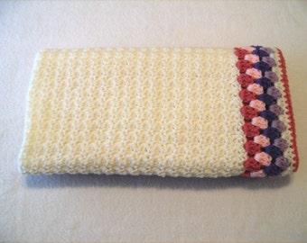 Baby Afghan - Crochet - Ivory - Rose - Purple - Lavender - Multi - Lap Blanket