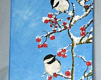 Art,Painting,Acrylic,Spring Snow,Black Capped Chickadees,9x12inches,Wrapped Canvas,Fine Art