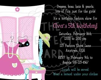 Fashion Show & Dress Up Birthday Party Invitation