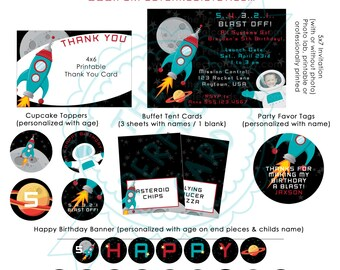 BLAST OFF SPACE  Printable Party Package with Invitation