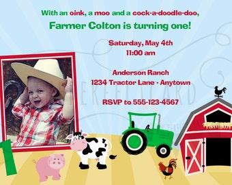 FARM Birthday Party Photo Invitation - Printable or photo lab