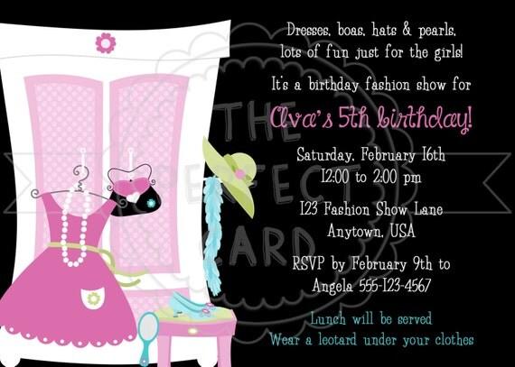 Fashion Show Dress Up Birthday Party Invitation
