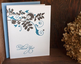 Letterpress Thank You Notes - Tropical flowers with hummingbird, blue grey  (set of 6) / SALE!!