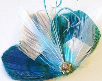 Turquoise Peacock Feather Hair Clip ATLANTIS PRINCESS Bridal Hair Fascinator Clip with Vintage Rhinestone Jewel OOAK