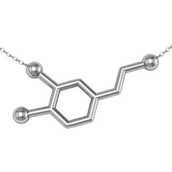Dopamine Molecule Necklace: Dopamine Necklace Dopamine Molecule Necklace Silver By ASHYL
