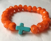 bright orange crystal stretch bracelet with choice of accent bead