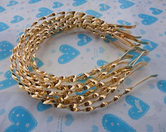 15pcs Metal Wave Headbands 4mm gold color with end