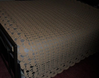 Crocheted Afghan (California King 118 ins. X 82ins.)  - Blanket - Bedspread - Coverlet -  ''SHELLS GALORE''  in Soft Tans